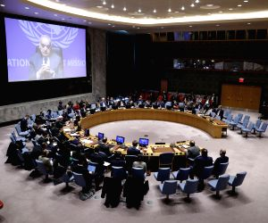 UNITED NATIONS, March 21, 2019 - The United Nations Security Council holds a meeting on the situation in Libya, at the UN headquarters in New York, March 20, 2019. The top UN envoy in Libya Ghassan ...