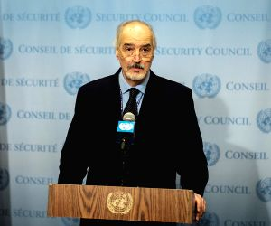 UNITED NATIONS, March 22, 2019 - Bashar Jaafari, Syria's permanent representative to the United Nations, speaks to journalists at the UN headquarters in New York, March 22, 2019. Bashar Jaafari said ...