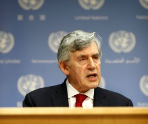 UNITED NATIONS, May 11, 2018 - Gordon Brown, United Nations Special Envoy for Global Education, briefs journalists on the launch of International Finance Facility for Education at the UN headquarters ...