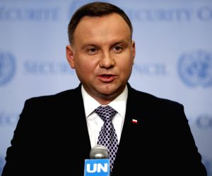 UNITED NATIONS, May 17, 2018 - Polish President Andrzej Duda speaks to journalists during a press encounter at the UN headquarters in New York, May 17, 2018. Polish President Andrzej Duda said here ...