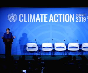 UNITED NATIONS, Sept. 24, 2019 - German Chancellor Angela Merkel addresses the UN Climate Action Summit at the UN headquarters in New York, Sept. 23, 2019.