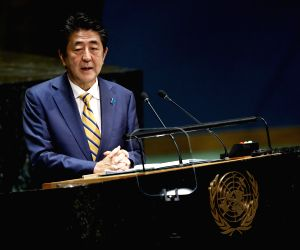 UNITED NATIONS, Sept. 25, 2019 - Japanese Prime Minister Shinzo Abe addresses the General Debate of the 74th session of the UN General Assembly at the UN headquarters in New York, Sept. 24, 2019. ...