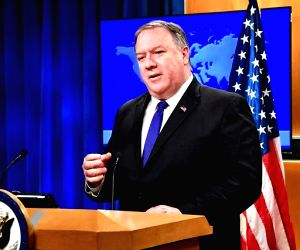 United States Secretary of State Michael Pompeo speaks to reporters at the StateDepartment of State in Washington on Monday, June 10, 2019. (Photo: State Department/IANS)