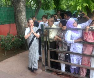 UPA Chairperson Sonia Gandhi and party's General Secretary Priyanka Gandhi arrive at Congress headquarters to pay homage to veteran Congress leader and three-time Chief Minister Sheila ...