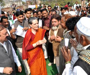 Sonia Gandhi interacts with public