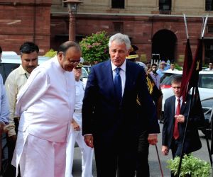 Chuck Hagel with Arun Jaitley