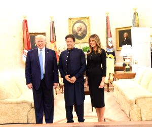US President Donald Trump, First Lady  Melania Trump  with Pakistan Prime Minister Imran Khan at their meeting at White House in Washington on July 22, 2019.