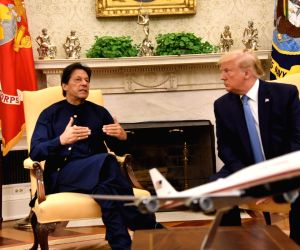 US President Donald Trump with Pakistan Prime Minister Imran Khan at the White House