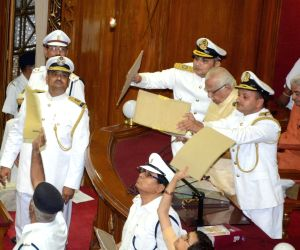 Pandemonium in UP Assembly, paper missiles thrown at Governor