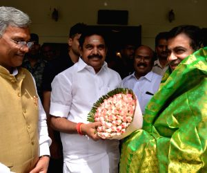 Uttarakhand Chief Minister Harish Rawat and Tamil Nadu Chief Minister Edappadi K. Palaniswami meet Union Minister for Road Transport and Highways and Micro, Small and Medium Enterprises ...