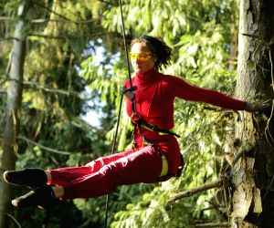 Aeriosa Dance Society perform inside a forest