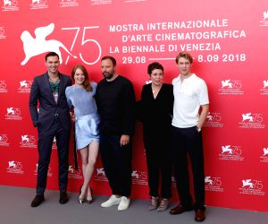 """VENICE, Aug. 30, 2018 - Actor Nicolas Hoult, actress Emma Stone, director Yorgos Lanthimos, actress Olivia Colman and actor Joe Alwyn (L-R) attend """"The Favourite"""" photocall during the 75th ..."""