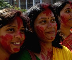 Vermilion ceremony on the last day of Durga Puja.