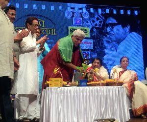 Veteran writer- lyricist Javed Akhtar celebrates 75 glorious years of melody queen Lata Mangeshkar 's musical journey in mumbai on Oct 26, 2017.