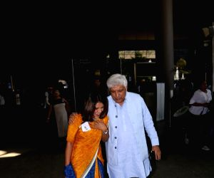 Javed Akhtar seen at airport