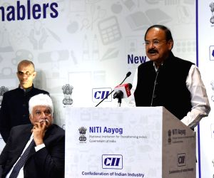 Vice President M Venkaiah Naidu addresses at the Conference on Jobs and Livelihood Creation - Critical Growth Enablers, organised by the NITI Aayog and the CII in New Delhi on Feb 8, 2018.