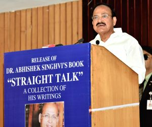 Vice President M. Venkaiah Naidu addresses at the launch of Congress leader and author Abhishek Manu Singhvi's book 'Straight Talk', in New Delhi on May 30, 2018.