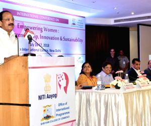 Vice President M. Venkaiah Naidu addresses at the International Conference on 'Empowering Women: Fostering Entrepreneurship, Innovation and Sustainability', jointly organised by the ...