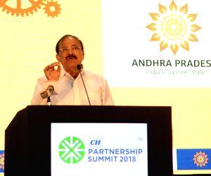 Vice President M. Venkaiah Naidu addresses the CII Partnership Summit 2018 in Vishakhapatnam, Andhra Pradesh on Feb 24, 2018.