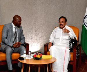 Vice President M Venkaiah Naidu at a meeting with the Acting Speaker of the Parliament of Sierra Leone Mathew Sahr Nyuma, in Freetown, Sierra Leone on Oct 14, 2019.
