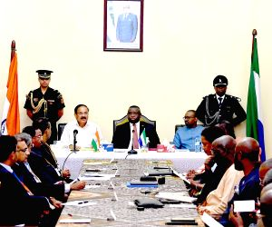 Vice President M Venkaiah Naidu at the delegation level talks with the President of the Republic of Sierra Leone Julius Maada Bio, at the State House, in Freetown, Sierra Leone on Oct 13, ...