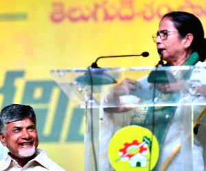 Visakhapatnam: West Bengal Chief Minister and Trinamool Congress supremo Mamata Banerjee addresses during a Telugu Desam Party's rally in Visakhapatnam on March 31, 2019. Also seen Telugu Desam Party president and Andhra Pradesh Chief Minister N Chan