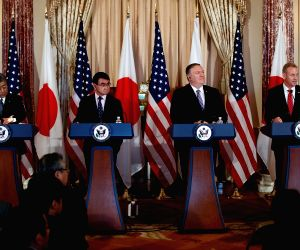 WASHINGTON D.C., April 20, 2019 - U.S. Secretary of State Mike Pompeo (2nd R), Acting U.S. Secretary of Defense Patrick Shanahan (1st R), Japanese Foreign Minister Taro Kono (2nd L)  and Japanese ...