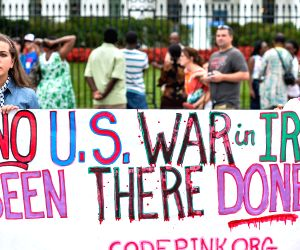 Washington D.C: A rally to protest the U.S. airstrikes in Iraq