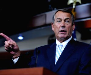 Washington D.C.: John Boehner, Speaker of the United States House of Representatives, speaks to media