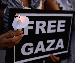 Washington D.C.: People attend a candlelight vigil for Palestinians