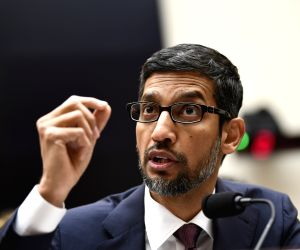 """WASHINGTON, Dec. 11, 2018 (Xinhua) -- Google CEO Sundar Pichai testifies before U.S. House of Representatives Judiciary Committee during a hearing """"Transparency & Accountability: Examining Google and its Data Collection, Use and Filtering Practices"""""""