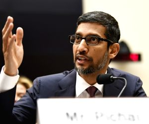 "WASHINGTON, Dec. 11, 2018 (Xinhua) -- Google CEO Sundar Pichai testifies before U.S. House of Representatives Judiciary Committee during a hearing ""Transparency & Accountability: Examining Google and its Data Collection, Use and Filtering Practices"""