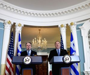 WASHINGTON, Dec. 14, 2018 - U.S. Secretary of State Mike Pompeo (R) and Greek Acting Foreign Minister George Katrougalos hold a joint press conference at the State Department in Washington D.C., the ...