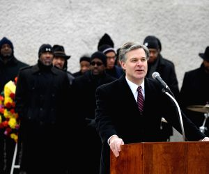 WASHINGTON, Jan. 15, 2018 - FBI Director Christopher Wray speaks before laying a wreath at Martin Luther King Jr. Memorial in Washington D.C., the United States, Jan. 15, 2018. Various activities are ...