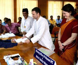 Wayanad (Kerala): Congress President Rahul Gandhi files his nomination for his second seat of Wayanad for the 2019 Lok Sabha elections in Wayanad, Kerala on April 4, 2019. Also seen Congress General Secretary (Uttar Pradesh East) Priyanka Gandhi. (Ph