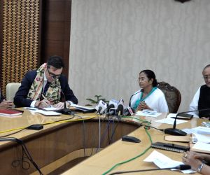 West Bengal Chief Minister Mamata Banerjee and British Council India Director Alan Gemmell OBE during the signing of an memorandum of understanding (MoU) in Kolkata, on July 6, 2018.
