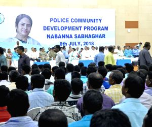 West Bengal Chief Minister Mamata Banerjee during Police Community Development Program at Nabanna in Howrah on July 6, 2018.