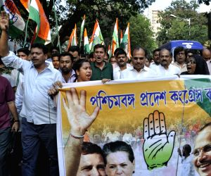 Congress demonstration against violence during West Bengal Assembly polls