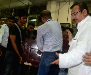 Coffins of Paresh Chandra Nath and Gautam Ghosh at Kolkata airport