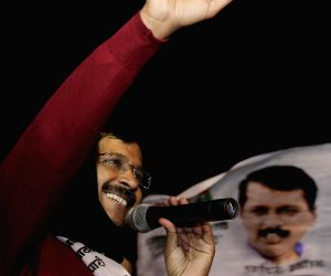 West Delhi: Arvind Kejriwal during an election rally
