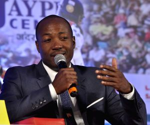 : West Indian former cricketer Brian Lara during the Salute Sachin marathon broadcast by Aaj Tak Nehru Center in Mumbai on November 12, 2013. (Photo: IANS).
