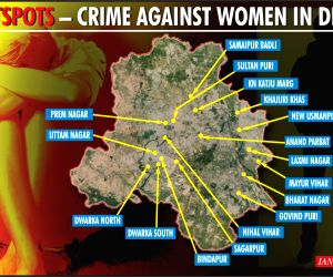 Which are the 17 hotspots vulnerable for women in Delhi