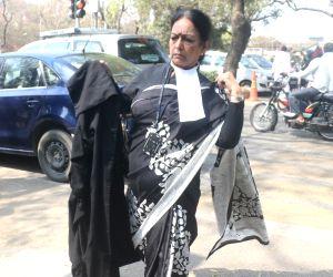Wife of Congress leader P. Chidambaram, Nalini Chidambaram arrives at Delhi High Court in New Delhi, on March 23, 2018.