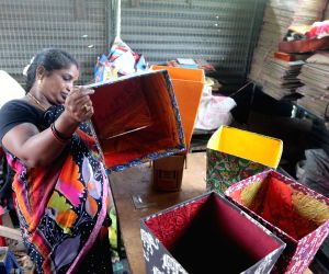 Cardboard dustbins being produced ahead of a plastic ban