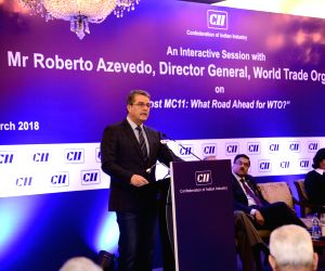 WTO DG Roberto Azevedo addresses during a CII programme in New Delhi on March 19, 2018.