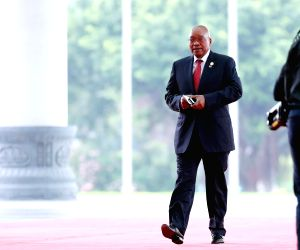 XIAMEN, Sept. 5, 2017 - South African President Jacob Zuma arrives at Xiamen International Conference Center to attend the Dialogue of Emerging Market and Developing Countries in Xiamen, southeast ...