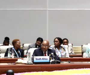 XIAMEN, Sept. 5, 2017 - South African President Jacob Zuma speaks at the Dialogue of Emerging Market and Developing Countries in Xiamen, southeast China's Fujian Province, Sept. 5, 2017.