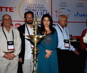 Yash Chopra, Shekhar Kapur and Tisca Chopra at Cinema scapes conference at Leela, Andheri, Mumbai on Wednesday.