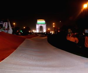 Youths stage demonstration carrying  200 feet tricolor