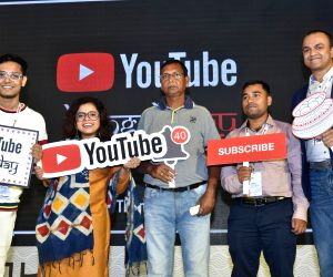 YouTube India Director Content Partnership Satya Raghavan with content creators during a programme in Kolkata on Oct 17, 2019.